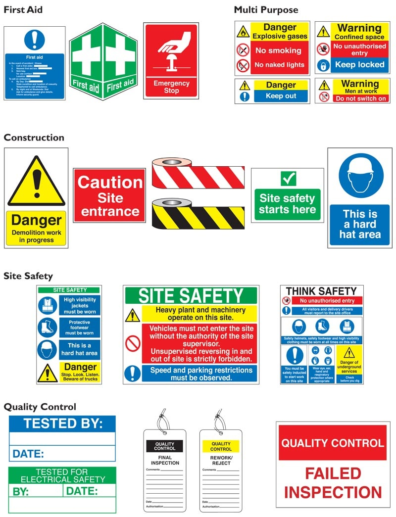 Fire, Safety & General Warning Signs Examples 1
